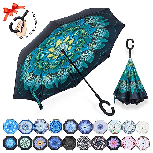 af694b204 ZOMAKE Double Layer Inverted Umbrella Cars Reverse Umbrella, UV Protection  Windproof Large Straight Umbrella for