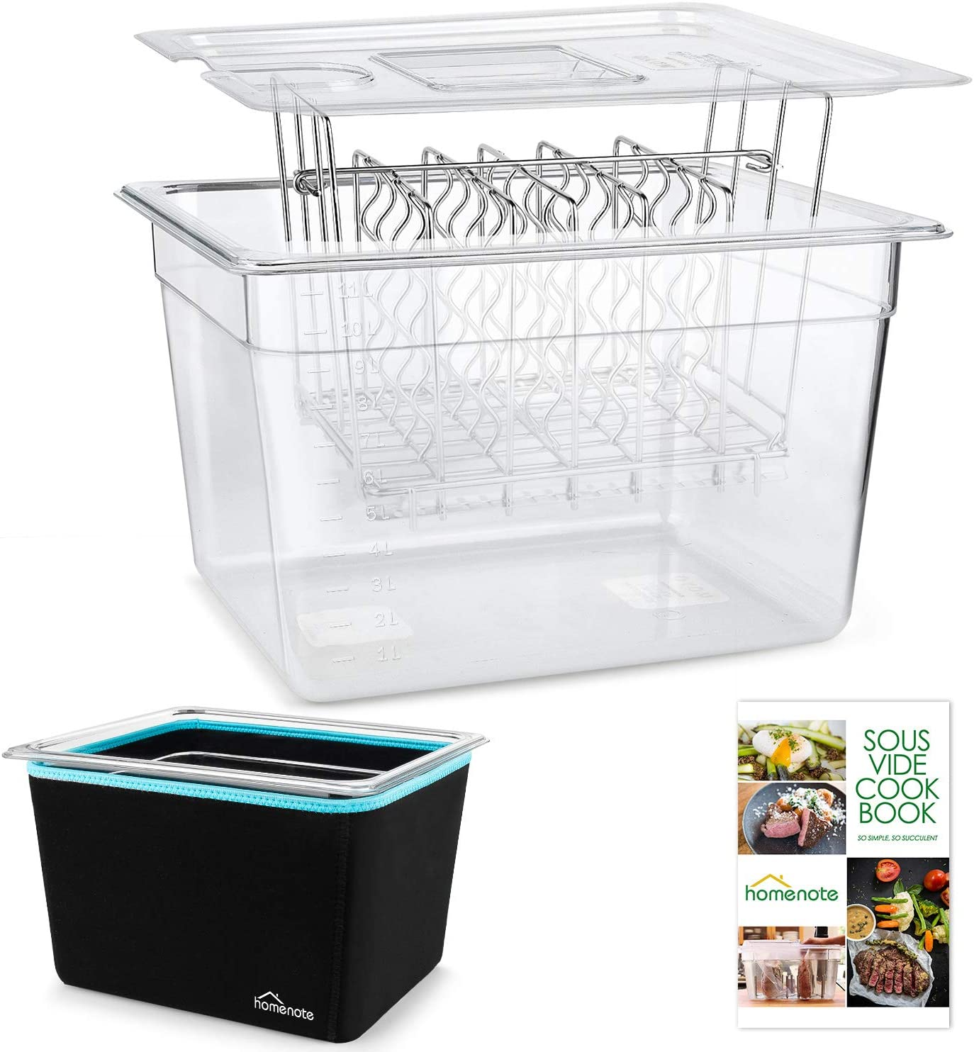 HOMENOTE Sous Vide Container 12 Quart with Lid & Rack and Sleeve - BPA Free Complete Sous Vide Accessories Kit with Cookbook For Anova and Most Sous Vide Cookers