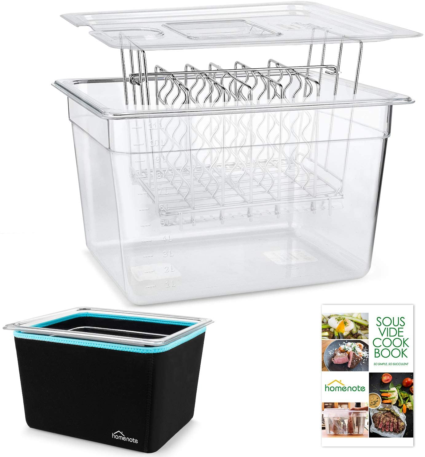 HOMENOTE Gifts Sous Vide Container 12 Quart Sleeve and Inventory cleanup selling sale Lid Rack with