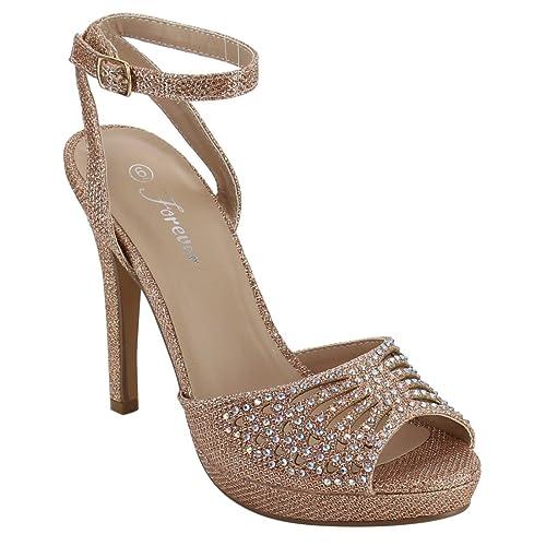eaf381ab0 FOREVER FQ47 Women s Rhinestone Cut Out Wrapped Stiletto Heel Platform  Sandals