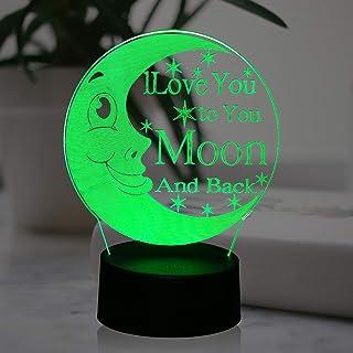 Moon Night Light I Love You to The Moon and Back Sign Illusion Baby Bear Cartoon Novel Bedroom Baby Sleep Sweet Mood LED T...