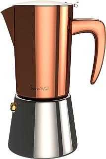 bonVIVO Intenca Cafetera Italiana Express De Inducción De Acero Inoxidable con Acabado Cobre, para Espresso con Mucho Cuerpo, Cafetera Moka Clásica, para 6 Tazas De Espresso