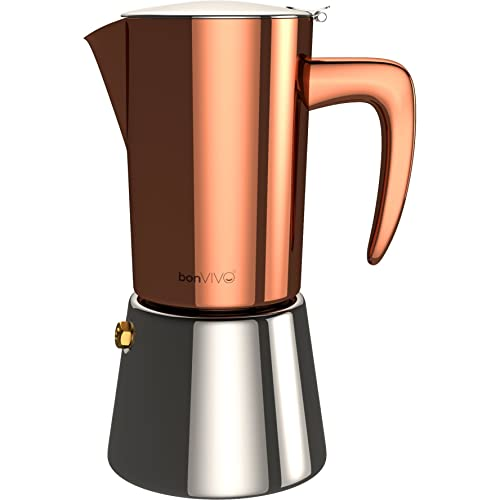 bonVIVO Intenca Stove-Top Italian Espresso Maker, Moka Pot Made Of Stainless Steel With Silver Chrome Finish, For Full Bodied Stove Top Coffee, Makes 6 Cups Of Espresso