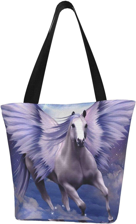 Purple Pegasus Winged Horse Themed Printed Women Canvas Handbag Zipper Shoulder Bag Work Booksbag Tote Purse Leisure Hobo Bag For Shopping