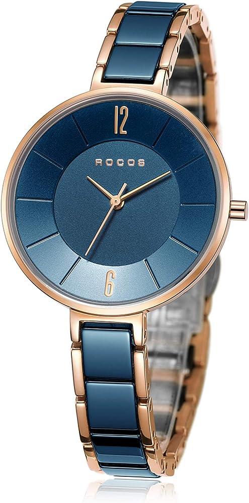 Rocos,orologio al quarzo da donna ,cassa in acciaio inossidabile,e cinturino in ceramica R0309