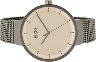 Hugo Boss Women's Carnation Gold Dial Ionic Plated Grey Steel Analog Watch - 1540003