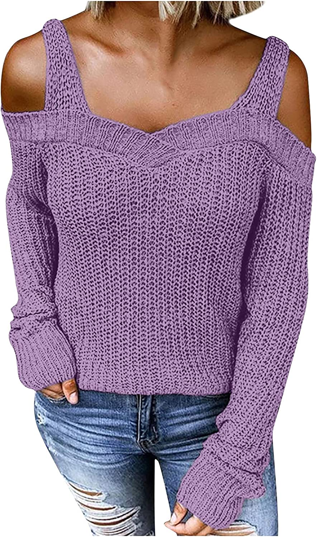 Womens Off Shoulder Long Sleeve Sweaters Cold Shoulder Halter Neck Sweater Top
