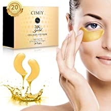 Under Eye Mask - 24K Gold Collagen Under Eye Patches for Dark Circles/Puffy Eyes/Wrinkles/Bags Under Eyes, Hydrated Under ...