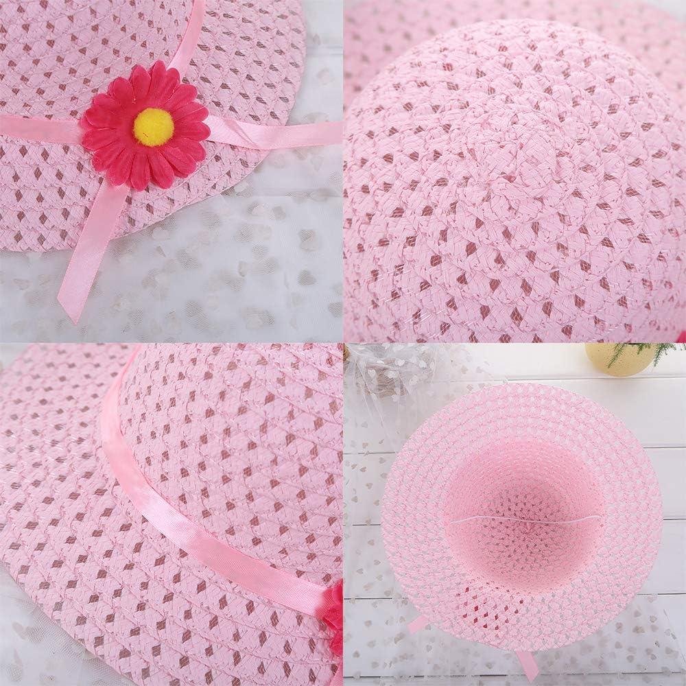 Straw Hat and Purse Set Children Flower Wing Sunhat Handbag Cap for Girls Summer Beach Ages 1-4 Years