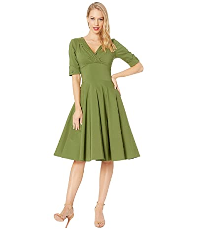 Unique Vintage 1950s Delores Swing Dress with Sleeves (Moss Green) Women