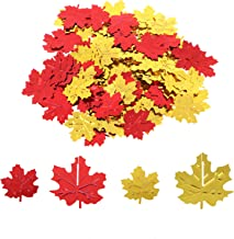 Omigga 4 Pack Fall Thanksgiving Maple Leaves Confetti 15g Autumn Party Table Maple Leaves Metallic Foil Confetti Decorations