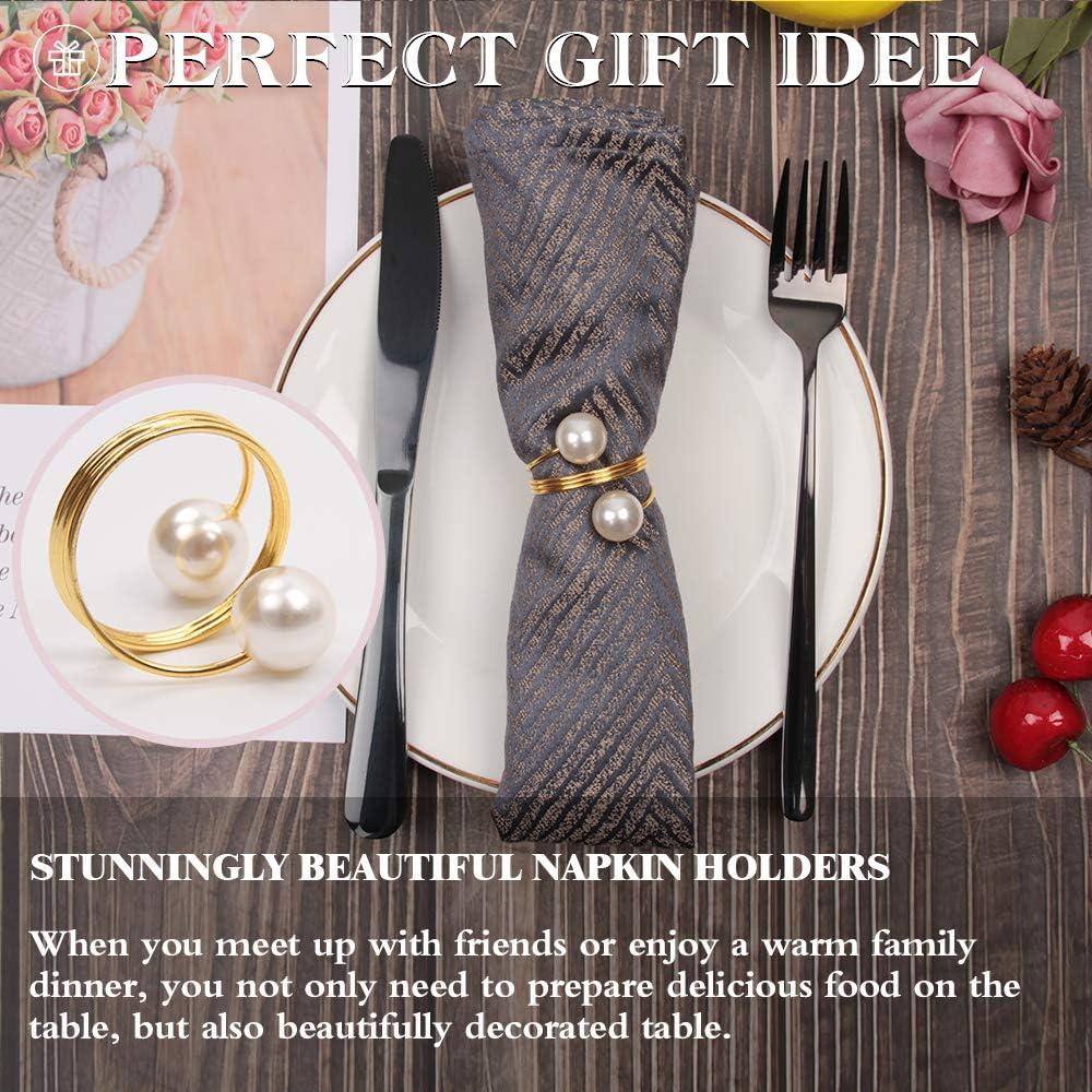 juego de servilleteros para decoraci/ón de mesa para bodas hoteles fiestas servilleteros 12 unidades mesas Sayopin Servilletero de anillo de papel dorado