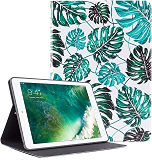 TeenGrow iPad 9.7 Inch Case 2018/2017, ipad Air 2,ipad Air case, Ultra Slim Lightweight PU Leather Folio Smart Cover, Soft TPU Protective Back Case with Auto Sleep/Wake (Banana Leaves)