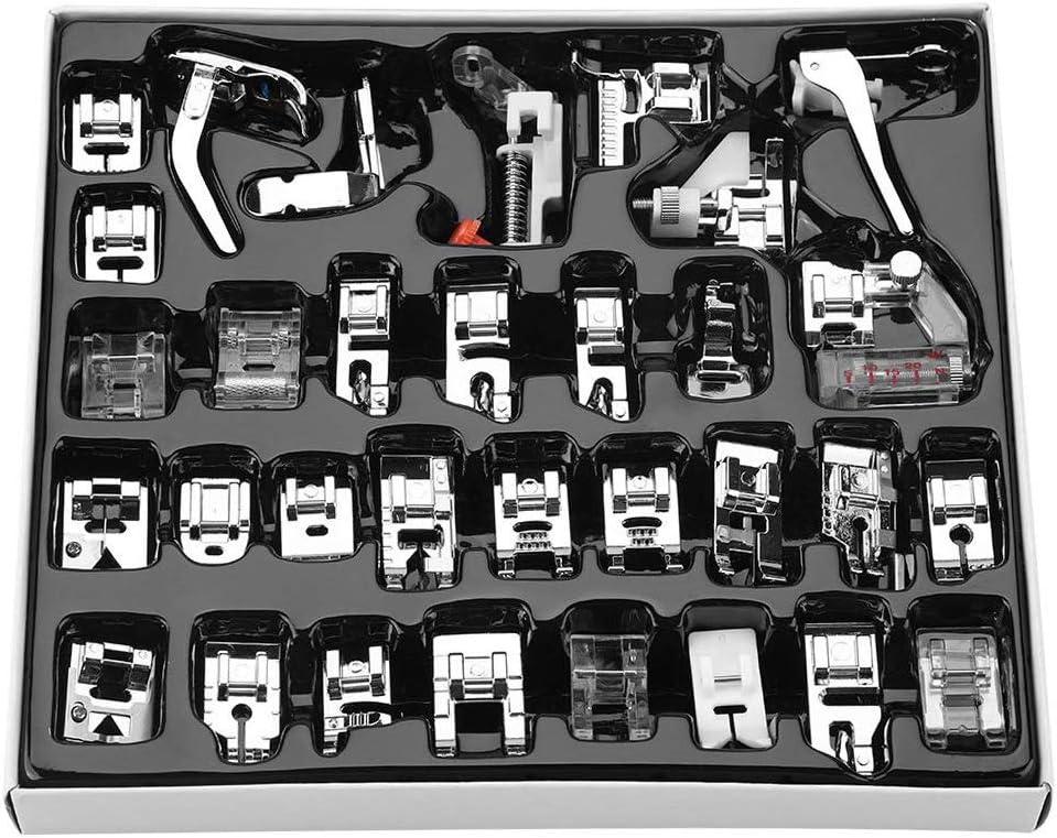 Kit de prensatelas para máquina de coser, se adapta a Brother, Baby Lock, Singer, Elna, Toyota, New Home, Simplicity, Janome, Kenmore, y máquina de coser de vástago bajo blanco (32 piezas)