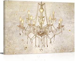 Painting on Canvas Wall Art-Vintage Styles Gold Chandelier Photo Prints Modern Artwork for Bed Bathroom Dining Room Home D...