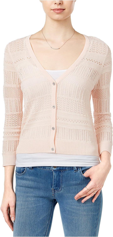 Maison Jules Womens Open Stitch 3 4 Sleeves Cardigan Sweater Pink XL