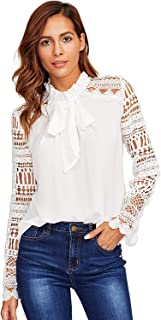 Women's Long Sleeve Bow Tie Ruffle Collar Lace Chiffon Blouse