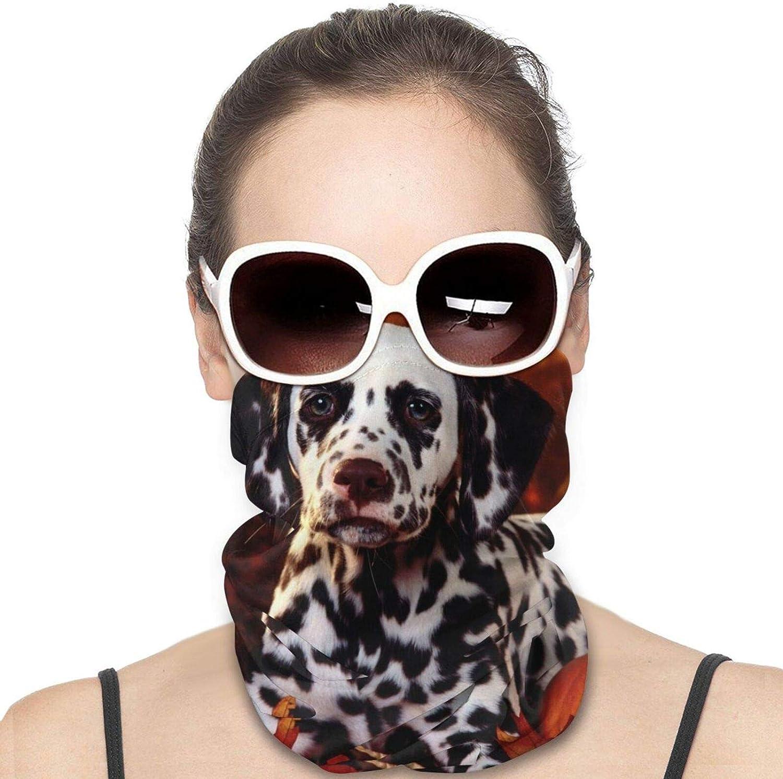 Dalmatian dog Neck Gaiter Windproof Face Cover Balaclava Outdoors Magic Scarf Headband for Men Women Motorcycling Fishing Running Climbing