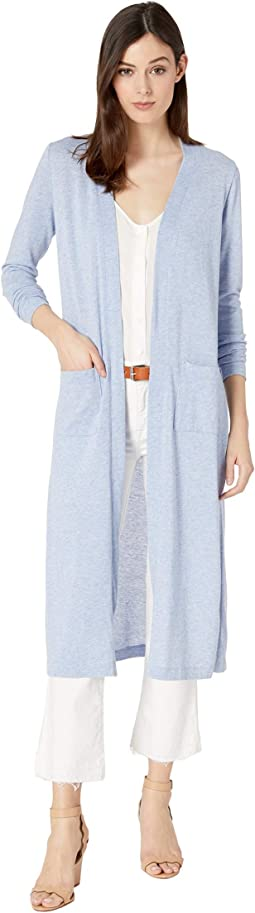 Heathered Sweater Duster Cardigan with Patch Pockets