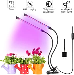 QMAY Plants Grow Light, Dual Head Grow Plant Lights 12W Adjustable 3 Modes Timer(3H/9H/12H) with 360 Degree Gooseneck Dual-lamp for Outdoor/Indoor
