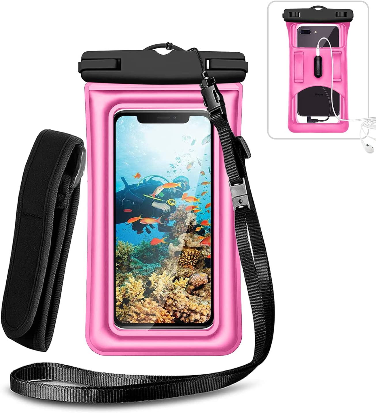 Weuiean Floating Waterproof Phone Case, Waterproof Phone Bag with Armband Jack, Adjustable Lanyard Phone Dry Bag for iPhone 12/11/SE/XS/XR/8/7/6Plus, Samsung S21/20/10/10+ up to 6.5 inch - Rose