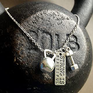 Titanium Never Tarnish Workout Necklace by Lolly Llama - Trendy Weightlifting Jewelry Necklace with