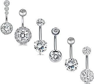 EVELICAL 6Pcs 14G Stainless Steel Belly Button Rings for Women Girls Navel Rings CZ Screw Bar Body Piercing