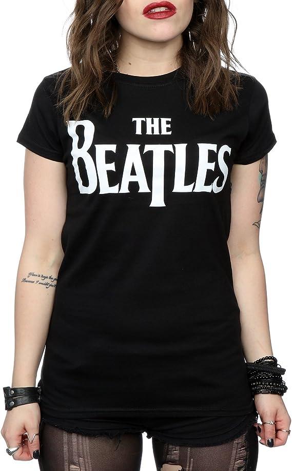 The Beatles Mujer Drop T Logo Camiseta