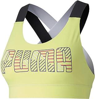 Puma Women'S Feel It Bra M, Puma Black/Bridal Rose/Yellow, Xs