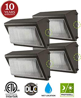 (4 Pack) 60W LED Wall Pack with Dusk-to-Dawn Photocell, IP65 Waterproof Outdoor Lighting Fixture, 200-300W HPS/MH Replacement, 7200lm 5000K 100-277Vac ETL&DLC Listed 10-Year Warranty by Kadision