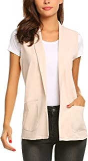 Dealwell Women's Sleeveless Vest Casual Open Front Cardigan Blazer with Pockets