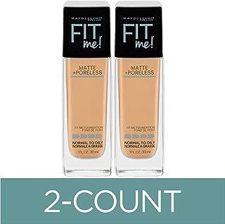 Maybelline Fit Me Matte + Poreless Liquid Foundation Makeup, Nude Beige, 2 COUNT Oil-Free Foundation