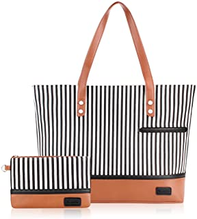 Laptop Tote Bag for Women Large Canvas Womens Briefcase Waterproof Computer Bag Work Bags for Women Fits 15.6 inch Laptop