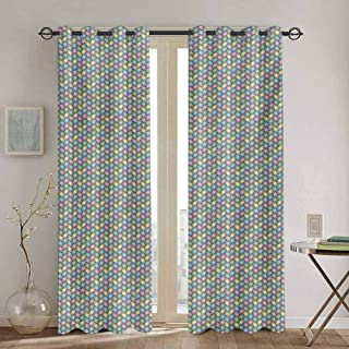 DONEECKL Abstract Window Curtain Woven Soft Colored Geometric Stripes Crisscross Pattern Ornate Traditional Design Soundproof Shade W52 x L95 Inch Multicolor