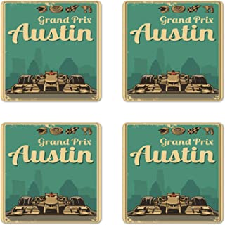 Austin Coaster Set of 4, Cup Coaster, Grand Prix Texas Racing Sports Car Cup Finish Sign Wheel Champagne Illustration, Square Hardboard Gloss Coasters for Drinks, Multicolor