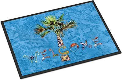 "Caroline's Treasures 8708JMAT Welcome Palm Tree on Blue Indoor or Outdoor Mat, 24 x 36"", Multicolor"