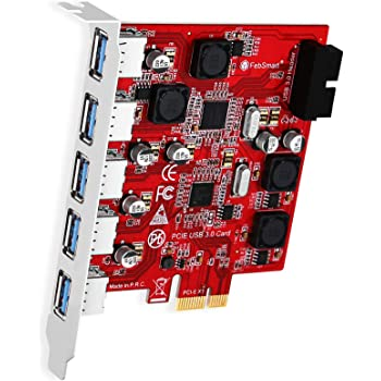 FebSmart 7-Ports Superspeed 5Gbps USB 3.0 PCI Express (PCIe) Expansion Card-5 Ports USB-A and an 19Pin USB 3.0 IDC Header-Build in Self-Powered Technology-No Need Additional Power Supply (FS-U7S-Pro)
