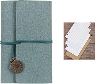Elonglin Journal Notebook Pages Refillable A6 Paper Notepad Diary Vintage PU Leather/Linen Cover Tetro Pendants Classic Em...