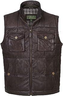 HIDEPARK Monty: Men's Brown Leather Bodywarmer