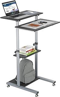 BONTEC Laptoptisch mit Rollen Stehpult Höhenverstellbar Laptop Ständer Mobile Workstation Kompakter Stand-up-Computer Präsentationswagen Ergonomisch mit 4 beweglichen