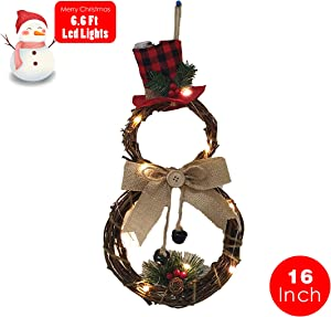 """GXONE Christmas Wreath, LED Front Door Wreaths for Christmas Home Kitchen Wall Window Hall Decor?. Size: 15.74(H) 7.87""""(W) Inch"""