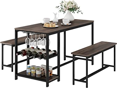 HOMECHO 3-Piece Dining Room Table for 4, Breakfast Nook Table Set with 2 Bench, Wood Kitchen Table with Wine Rack and Glass H