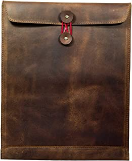 Hide & Drink,皮革邮寄信封文件架/办公室和工作必需品手工制作,包含 101 年质保:波旁棕色