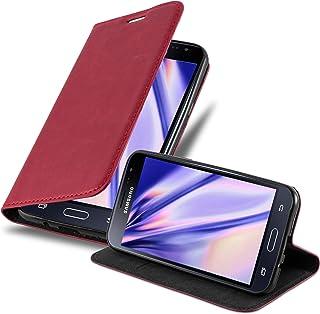 Cadorabo Hülle für Samsung Galaxy J3 / J3 DUOS 2016 in Apfel ROT   Handyhülle mit Magnetverschluss, Standfunktion und Kartenfach   Case Cover Schutzhülle Etui Tasche Book Klapp Style