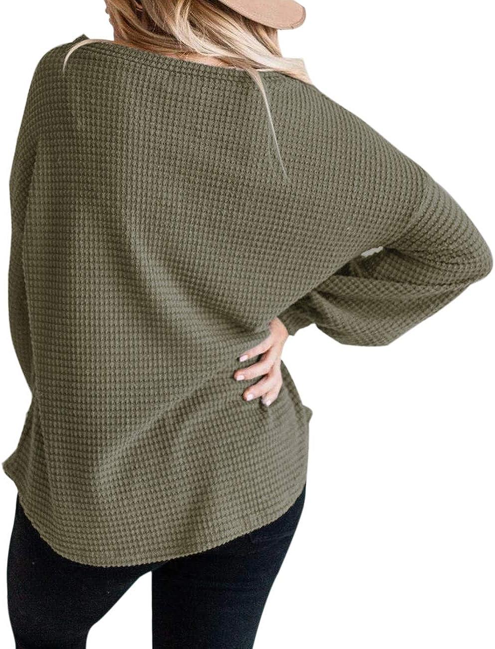 MEROKEETY Womens Long Balloon Sleeve Waffle Knit Tops Crew Neck Oversized Sweater Pullover