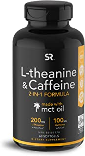 Sports Research, L-Theanine 200 mg & Caffeine 100 mg, with MCT Oil 500 mg, Focused Energy, Keto + Paleo Certified,60 Softgels