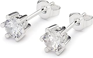 Briony in Moonlight,Silver-Plated,0.9 Ctw Stud Earrings,Round-Cut Cubic Zirconia,Six-Point