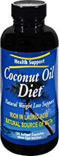 Health Support Coconut Oil Diet Softgel Capsules, 180 Count