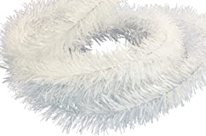 EST. LEE DISPLAY L D 1902 Shiny White Tinsel Garland 25FT Length 3IN Width Christmas Tinsel Brush Garland