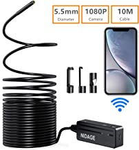 Wireless Endoscope Camera, NIDAGE WiFi 5.5mm 1080P HD Borescope Inspection Camera for iPhone Android, 2MP Semi-Rigid Snake Camera for Inspecting Motor Engine Sewer Pipe Vehicle (33FT)
